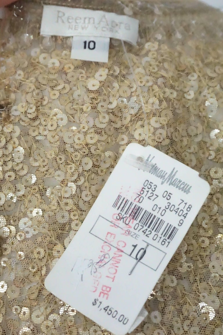 Reem Acra Gold Sequin and Beaded Sleeveless Top   For Sale 2