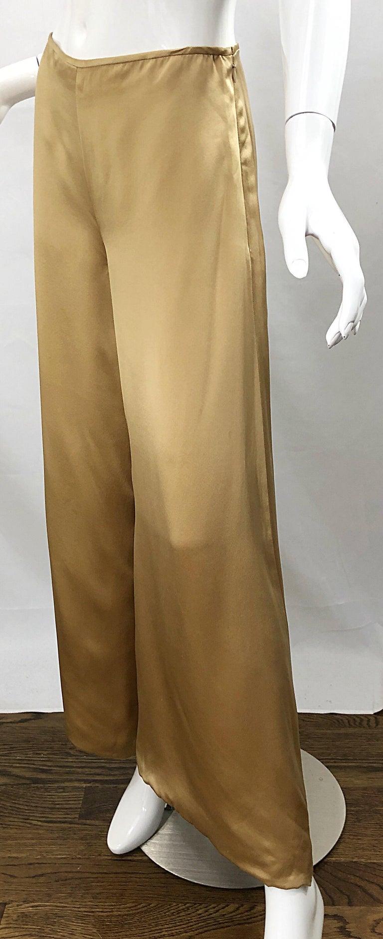 Reem Acra Liquid Gold Silk Size 6 8 Wide Leg Metallic