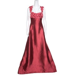 Reem Acra Red Silk Floral Applique Bodice Detail Embellished Gown L