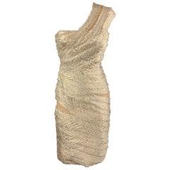 REEM ACRA Size 2 Metallic Gold & Silver Layered Jacquard Cocktail Dress