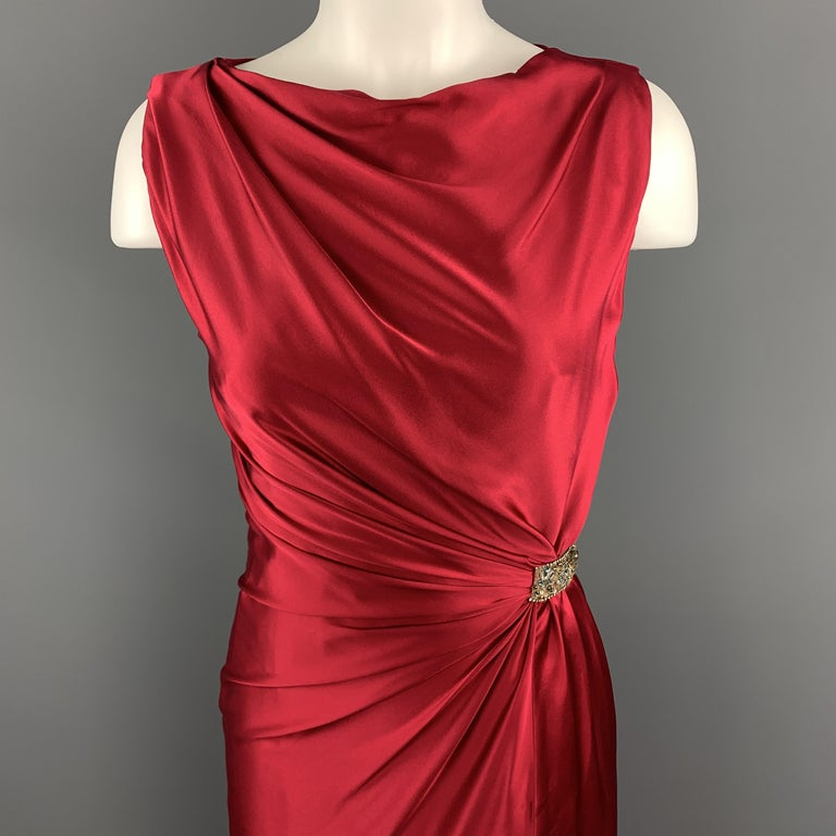 REEM ACRA sleeveless cocktail dress comes in raspberry red silk satin with a boat neckline, side slit, draped body, and beaded accent.  Made in USA.  New with Tags. Marked: USA 2  Measurements:  Shoulder: 13.5 in. Bust: 32 in. Waist: 23 in. Hip: 34