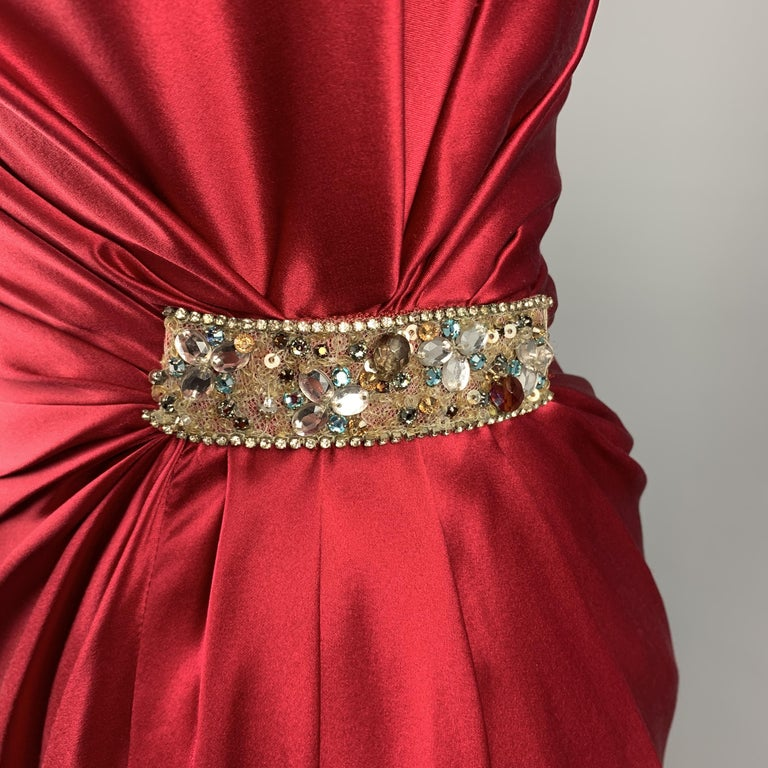 REEM ACRA Size 2 Raspberry Red Draped Silk Sleeveless Cocktail Dress In New Condition For Sale In San Francisco, CA