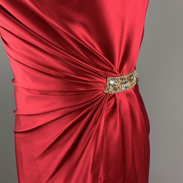 Women's REEM ACRA Size 2 Raspberry Red Draped Silk Sleeveless Cocktail Dress For Sale