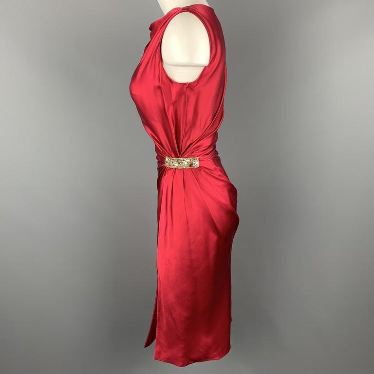 REEM ACRA Size 2 Raspberry Red Draped Silk Sleeveless Cocktail Dress For Sale 1