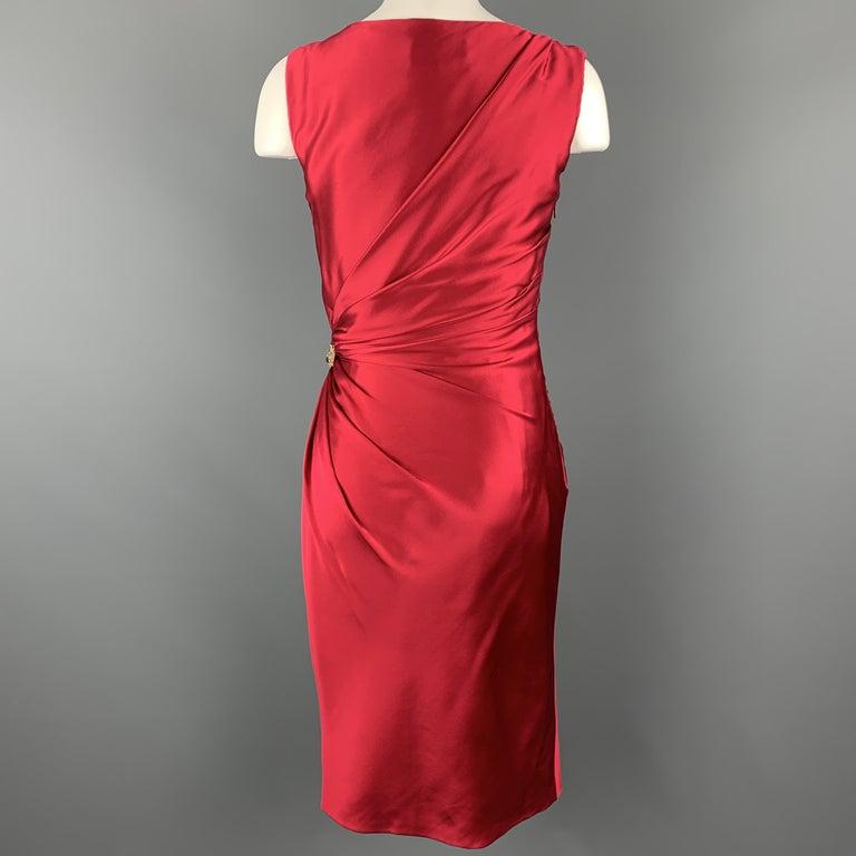 REEM ACRA Size 2 Raspberry Red Draped Silk Sleeveless Cocktail Dress For Sale 2