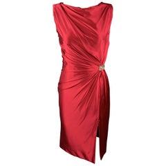 REEM ACRA Size 2 Raspberry Red Draped Silk Sleeveless Cocktail Dress