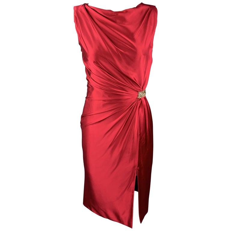 REEM ACRA Size 2 Raspberry Red Draped Silk Sleeveless Cocktail Dress For Sale