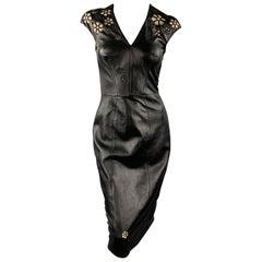 REEM ACRA Size 4 Black Leather Floral Cutout Cocktail Dress