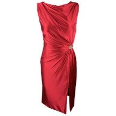 REEM ACRA Size 4 Raspberry Red Draped Silk Sleeveless Cocktail Dress