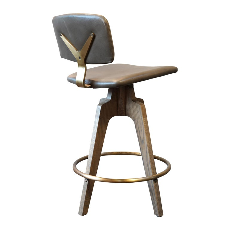 Reeves Swivel Bar Stool with Ash legs stained Walnut, Leather and Brass Accents For Sale 2
