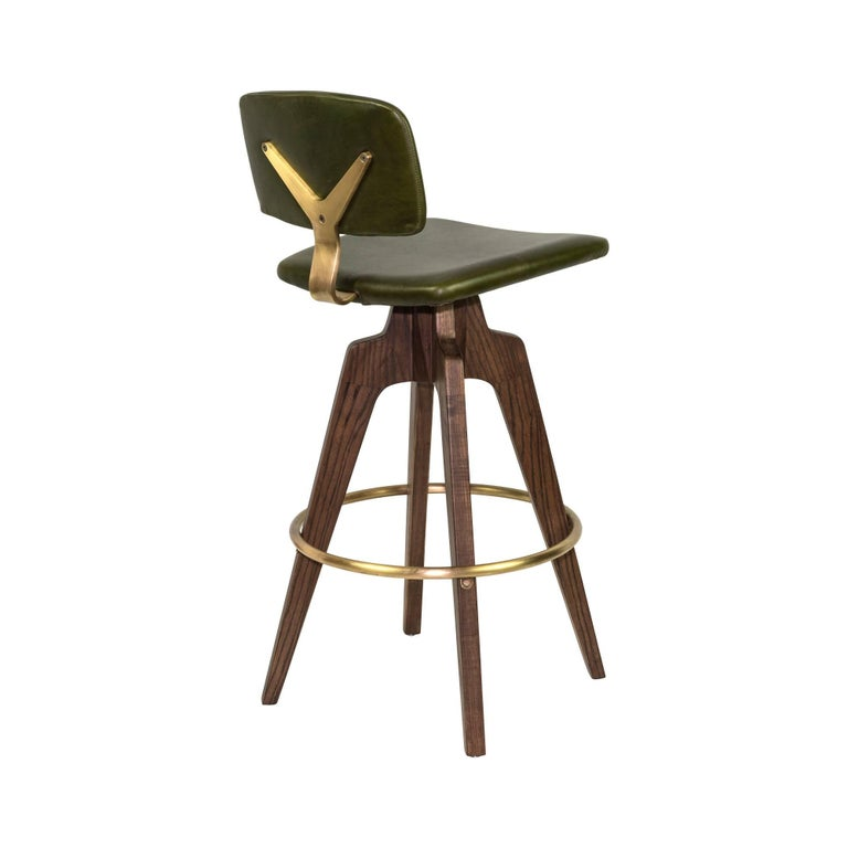 Modern Reeves Swivel Bar Stool with Walnut Legs and Leather Back and Seat For Sale