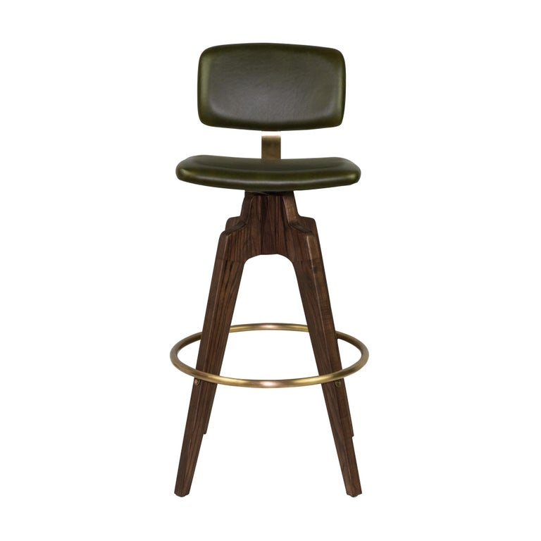 Reeves Swivel Bar Stool with Ash legs stained Walnut, Leather and Brass Accents In New Condition For Sale In Westport, CT