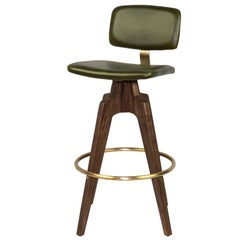Reeves Swivel Bar Stool with Ash legs stained Walnut, Leather and Brass Accents