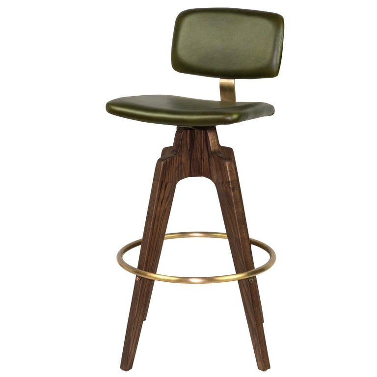 Reeves Swivel Bar Stool With Walnut Legs And Leather Back And Seat