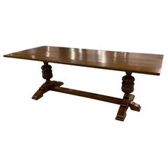 Refectory Trestle Table English Solid Oak, Tudor Style with Carved Pillars