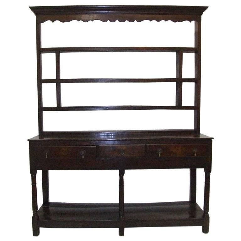 Refined 18th Century Welsh Oak Dresser with Original Open Delft Rack
