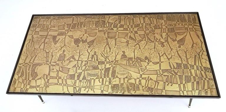 Refined and Elegant Etched Brass Coffee Table by G. Urs, Italy, 1950s-1960s For Sale 3