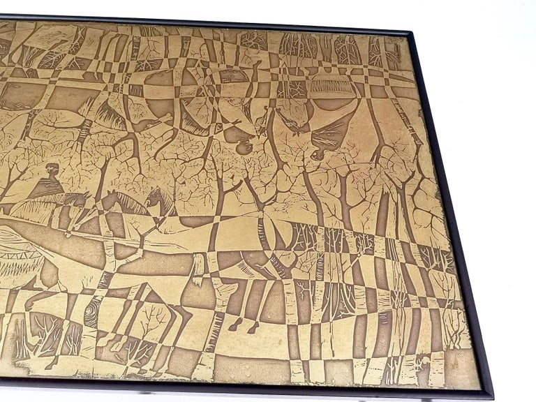 Refined and Elegant Etched Brass Coffee Table by G. Urs, Italy, 1950s-1960s For Sale 5