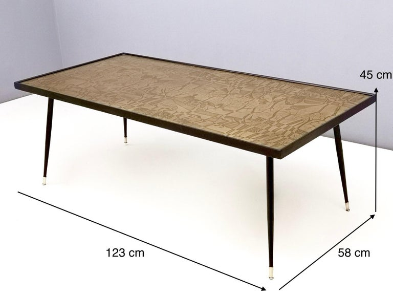 Refined and Elegant Etched Brass Coffee Table by G. Urs, Italy, 1950s-1960s For Sale 7