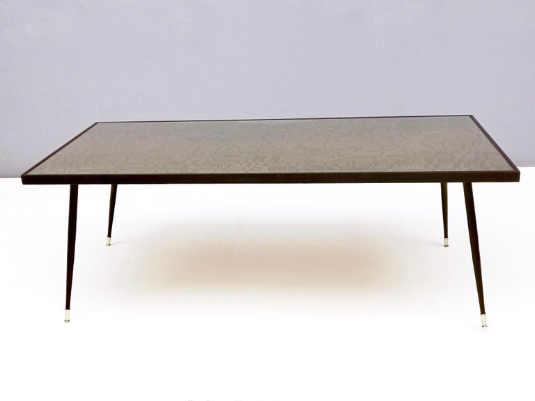 Italian Refined and Elegant Etched Brass Coffee Table by G. Urs, Italy, 1950s-1960s For Sale