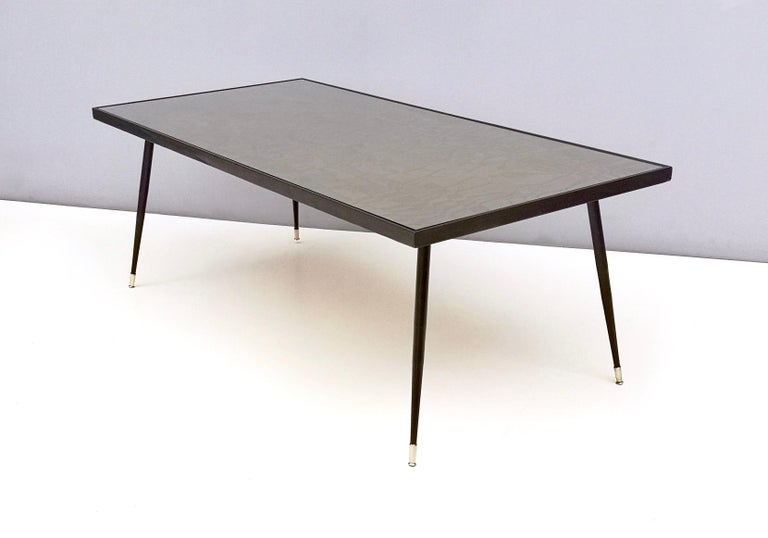 Ebonized Refined and Elegant Etched Brass Coffee Table by G. Urs, Italy, 1950s-1960s For Sale