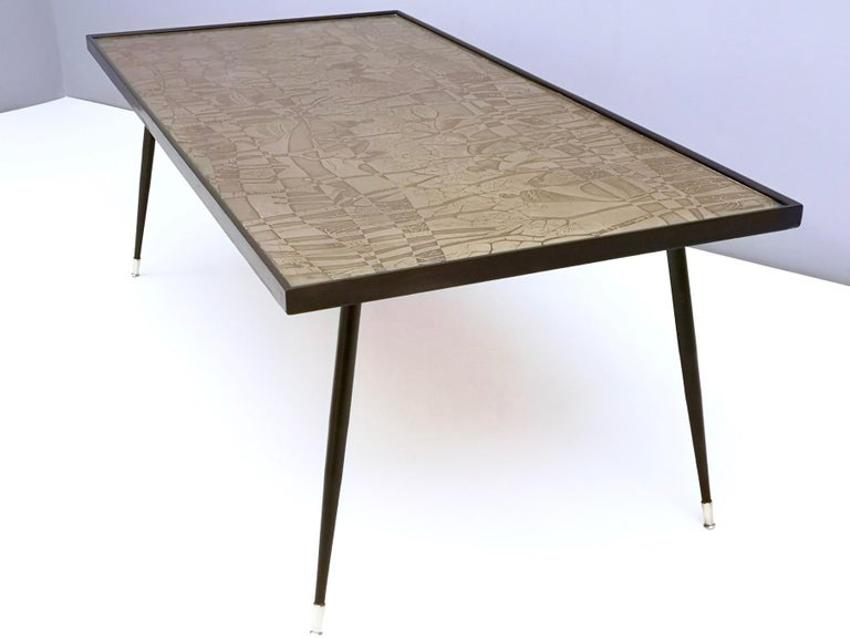 Refined and Elegant Etched Brass Coffee Table by G. Urs, Italy, 1950s-1960s In Excellent Condition For Sale In Bresso, Lombardy