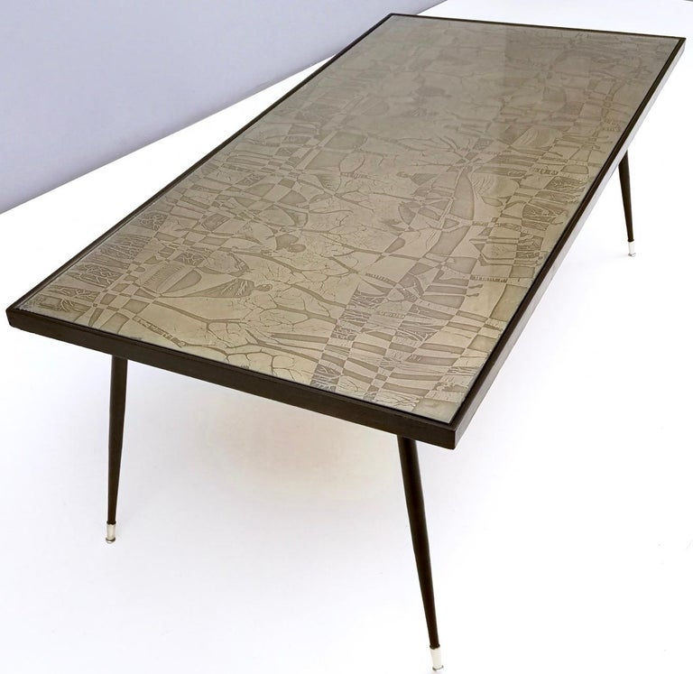 Mid-20th Century Refined and Elegant Etched Brass Coffee Table by G. Urs, Italy, 1950s-1960s For Sale