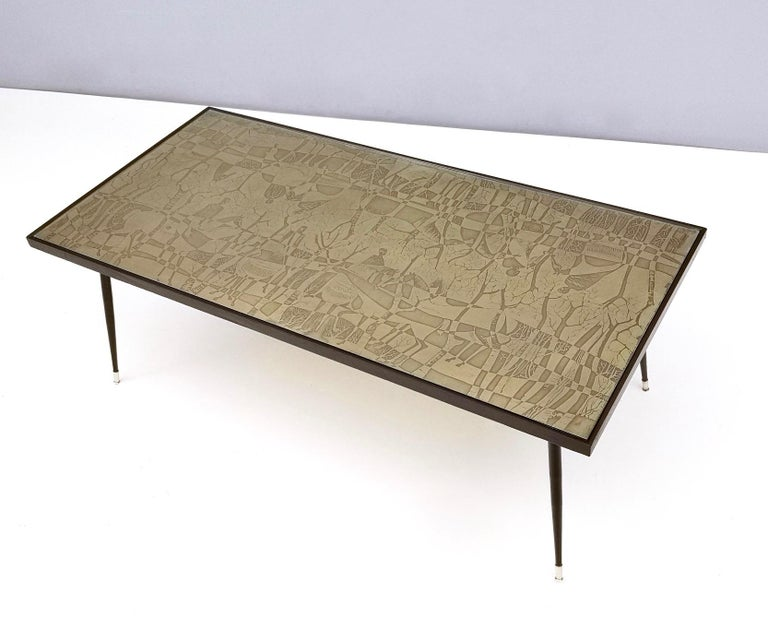 Metal Refined and Elegant Etched Brass Coffee Table by G. Urs, Italy, 1950s-1960s For Sale