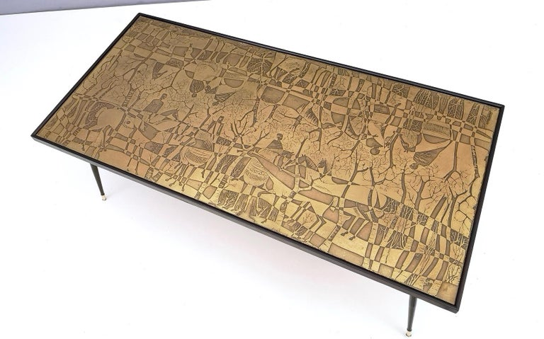 Refined and Elegant Etched Brass Coffee Table by G. Urs, Italy, 1950s-1960s For Sale 1