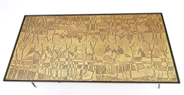 Refined and Elegant Etched Brass Coffee Table by G. Urs, Italy, 1950s-1960s For Sale 2
