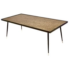 Refined and Elegant Etched Brass Coffee Table by G. Urs, Italy, 1950s-1960s