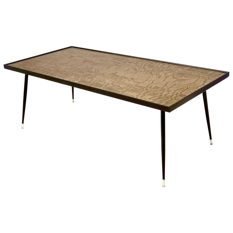 Refined and Elegant Etched Brass Coffee Table by G. Urs, Italy, 1950s-1960s For Sale