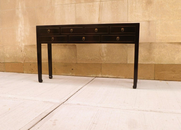 Ming Refined Black Lacquer Console Table with Drawers For Sale
