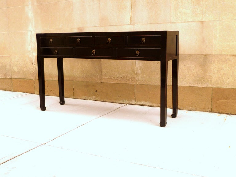 Refined Black Lacquer Console Table with Drawers In Excellent Condition For Sale In Greenwich, CT