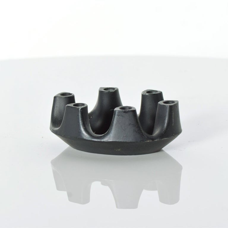 American Refined Brutalist Crown Six Candlestick Candleholder Sculpted Iron Ring, 1970s For Sale