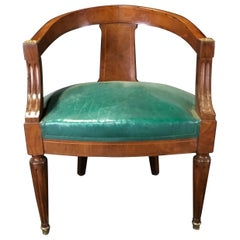 Refined French Walnut Louis XVI Leather Desk or Boudoir Chair