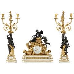"Refined Louis XVI Style ""Venus"" Mantel Clock Set by Robin, Hgr du Roy"
