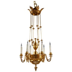 Refined Neoclassical Pierced Gilded Bronze Chandelier by F. Barbedienne