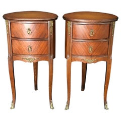 Refined Pair of French Louis XV Style Nightstands