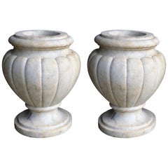 Refined Pair of Italian Neoclassical Style Carved Carrera Marble Lobed Urns