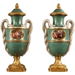 Refined Pair of Louis XVI Style Vases with Covers Attributed to Samson & Cie