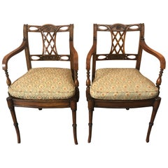 Refined Pair of Maitland Smith Mahogany Armchairs with Caned Seats