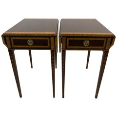 Refined Pair of Pembroke Dropleaf Hepplewhite Style End Tables