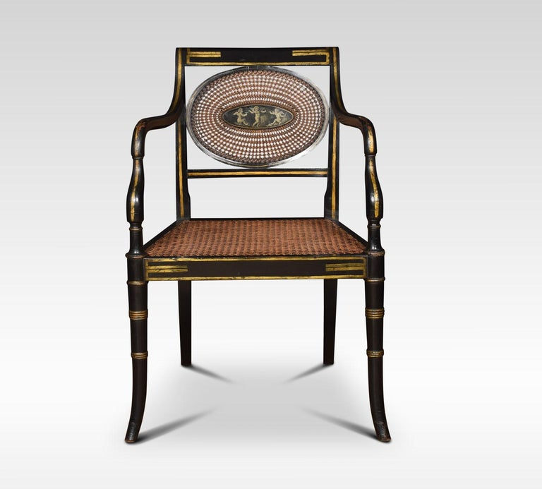 British Refined Set of Eight English Regency Cane Armchairs For Sale