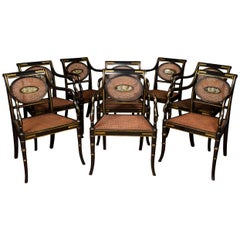 Refined Set of Eight English Regency Cane Armchairs