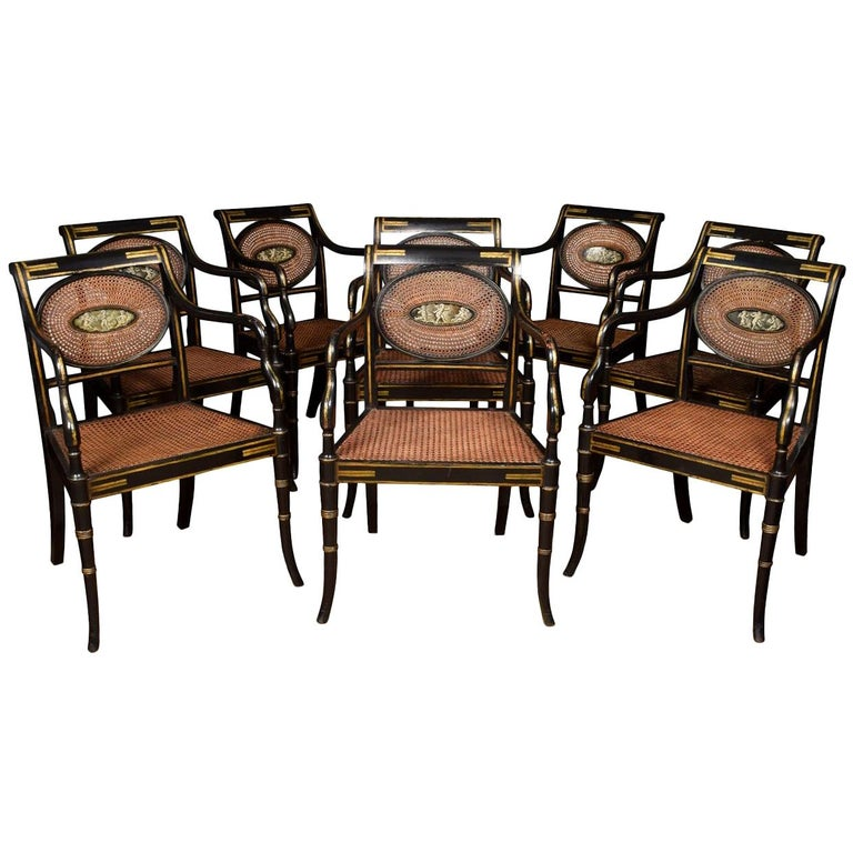 Refined Set of Eight English Regency Cane Armchairs For Sale