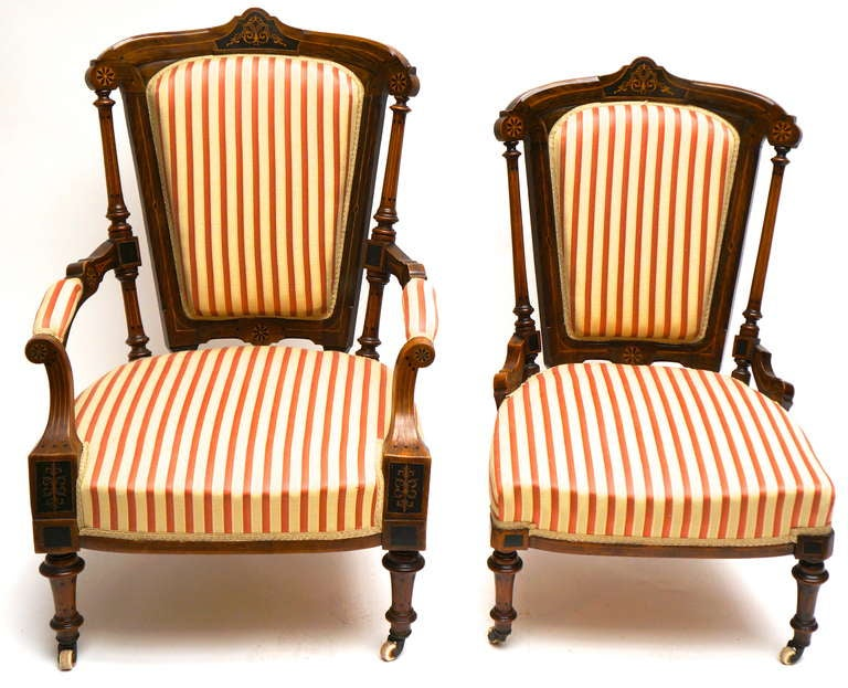 Refined Set of Two Victorian Low Chairs For Sale 4