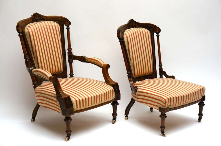 French Refined Set of Two Victorian Low Chairs For Sale