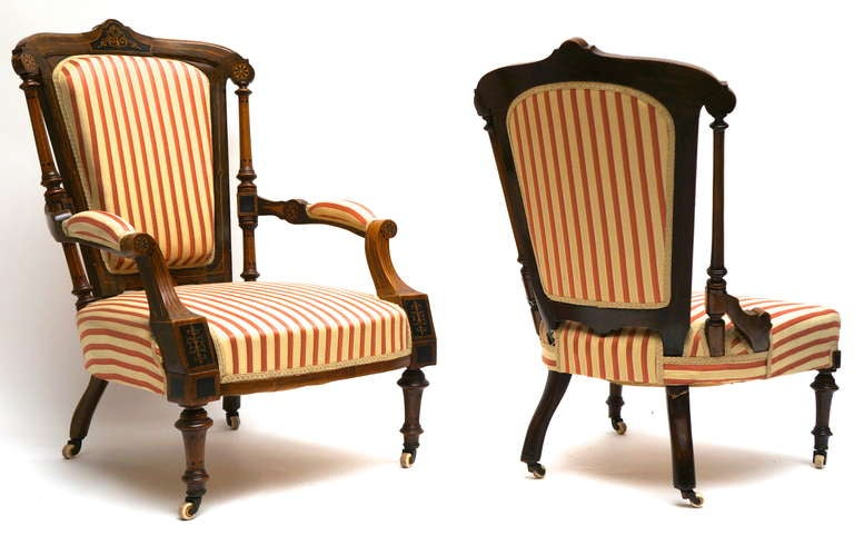 19th Century Refined Set of Two Victorian Low Chairs For Sale