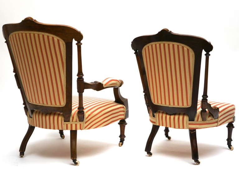 Upholstery Refined Set of Two Victorian Low Chairs For Sale
